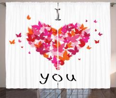 Renkli Kelebek ve Kalp Fon Perde Rengarenk Kelebekler ve Kalp