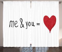 Aşk Desenli Fon Perde Kırmızı Beyaz Kalp