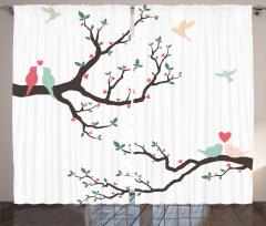 Romantik Kuşlar Fon Perde Romantik Kuşlar Bahar