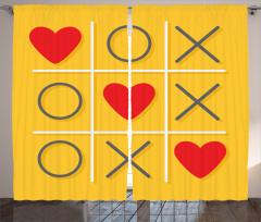 Romantik Kalpli Fon Perde Kırmızı Romantik Kalpli