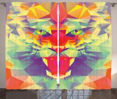 Rengarenk Kaplan Figürü Fon Perde Kaplan Figürü Modern Sanat