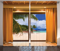 Pencere Desenli Fon Perde Plaj Deniz Kahverengi