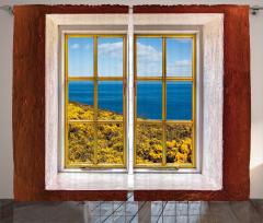 Pencere Desenli Fon Perde Çiçek Deniz Mavi Bulut