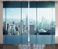 Ofis Manzaralı Fon Perde Gökdelen Pencere Siyah