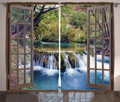 Şelale Manzaralı Fon Perde Pencere Ağaç Yeşil