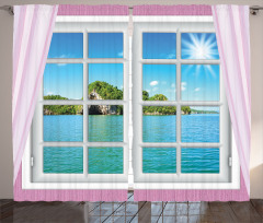 Turkuaz Deniz Manzaralı Fon Perde Pembe Pencere
