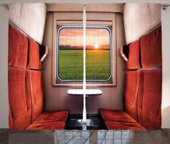 Tren Penceresi Temalı Fon Perde Kırmızı Koltuk