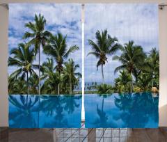 Havuz Manzaralı Fon Perde Mavi Gökyüzü Palmiye