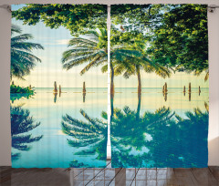 Havuz Manzaralı Fon Perde Mavi Yeşil Ağaç Doğa