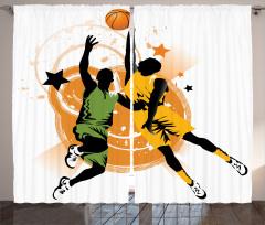 Basketbolcu Desenli Fon Perde Basketbol Spor Turuncu