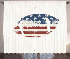 ABD Bayrağı Desenli Fon Perde Amerikan Futbolu