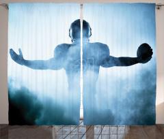 Amerikan Futbolu Temalı Fon Perde Mavi Spor