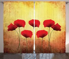 Romantik Gelincikler Fon Perde Kırmızı Romantik Gelincikler