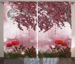 Rüya Bahçesi Fon Perde Gelincik Ay Işığı