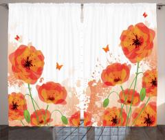 Gelincik ve Kelebekler Fon Perde Gelincik Çiçeği ve Kelebekler
