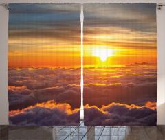 Gün Batımı Temalı Fon Perde Turuncu Gökyüzü Bulut