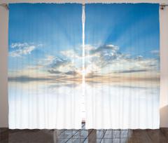 Gökyüzü Temalı Fon Perde Mavi Beyaz Bulut Işık