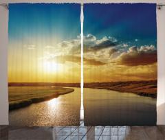 Nehir Manzaralı Fon Perde Gün Batımı Bulut Gökyüzü