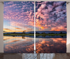 Pembe Bulut Manzaralı Fon Perde Nehir Gökyüzü Doğa