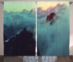 Bulut Temalı Fon Perde Gün Batımı Gökyüzü Gri