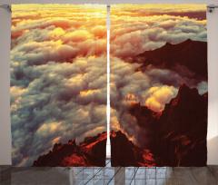 Tepede Gün Batımı Fon Perde Turuncu Bulut