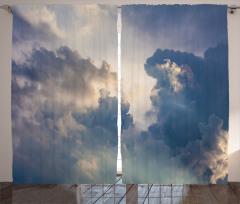 Gökyüzü ve Bulut Temalı Fon Perde Mavi Gri Şık