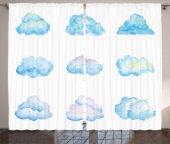Bulut Desenli Fon Perde Turkuaz Beyaz Şık Tasarım