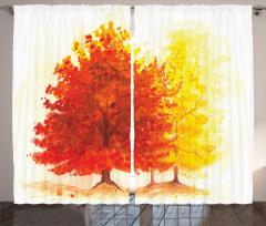 Sonbahar Temalı Fon Perde Sarı Kırmızı Ağaç Yaprak
