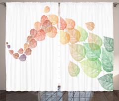 Sonbahar Temalı Fon Perde Rengarenk Yapraklar