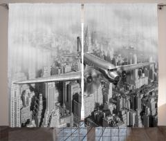 New York Uçak Gökdelen Fon Perde Retro