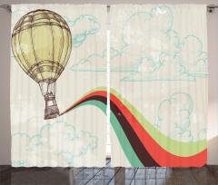 Balon Bulut Gökkuşağı Fon Perde Beyaz