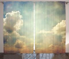 Yıldızlı Gökyüzü Temalı Fon Perde Beyaz Bulutlu