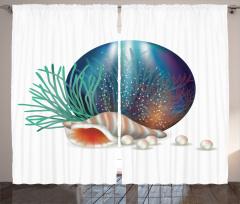 Su Altı Dünyası Fon Perde Deniz Kabuğu İnciler