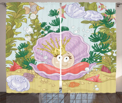 Prenses İnci ve Balık Fon Perde Prenses İnci ve Balıklar