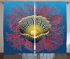İnci ve Mercan Fon Perde İnci Mercan Kırmızı Mavi