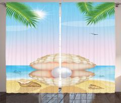 Deniz Kabuğu ve İnci Fon Perde Deniz Kabuğu Martı İnci