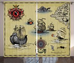 Ahşap Gemi ve Savaş Fon Perde Nostaljik