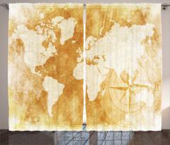 Dünya Haritası Pusula Fon Perde Bej