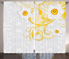 Şık Papatya Desenli Fon Perde Çeyizlik Çiçekli Tasarım