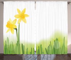 Nergis Desenli Fon Perde Sarı Nergis Çiçekli Tasarım