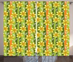 Çiçekli Tasarım Fon Perde Sarı Nergis Çiçekli Tasarım