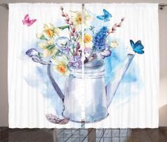 Sulu Boya Çiçekli Fon Perde Çiçekli Şık Tasarım