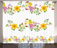 Rengarenk Çiçek Desenli Fon Perde Bahar Kelebekler