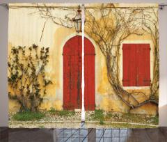 Antik Ev ve Sarmaşık Fon Perde Sarı Kırmızı