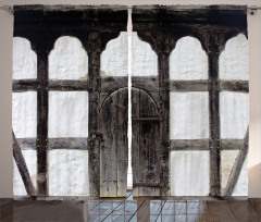 Ahşap Kapı ve Sütun Fon Perde Nostaljik