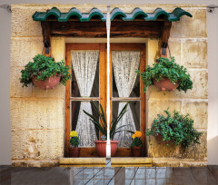 Çiçekli Ahşap Pencere Fon Perde Dekoratif