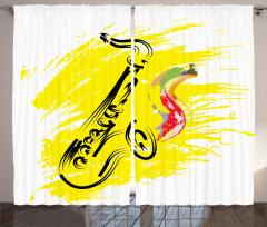 Sarı Dekoratif Saksafon Fon Perde Müzik