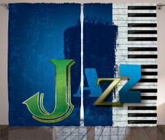 Mavi Caz ve Piyano Fon Perde Şık Tasarım