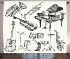 Müzik ve Orkestra Fon Perde Siyah Beyaz