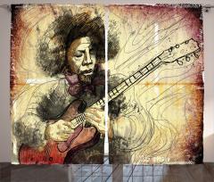 Gitar ve Afro Müzisyen Fon Perde Rengarenk